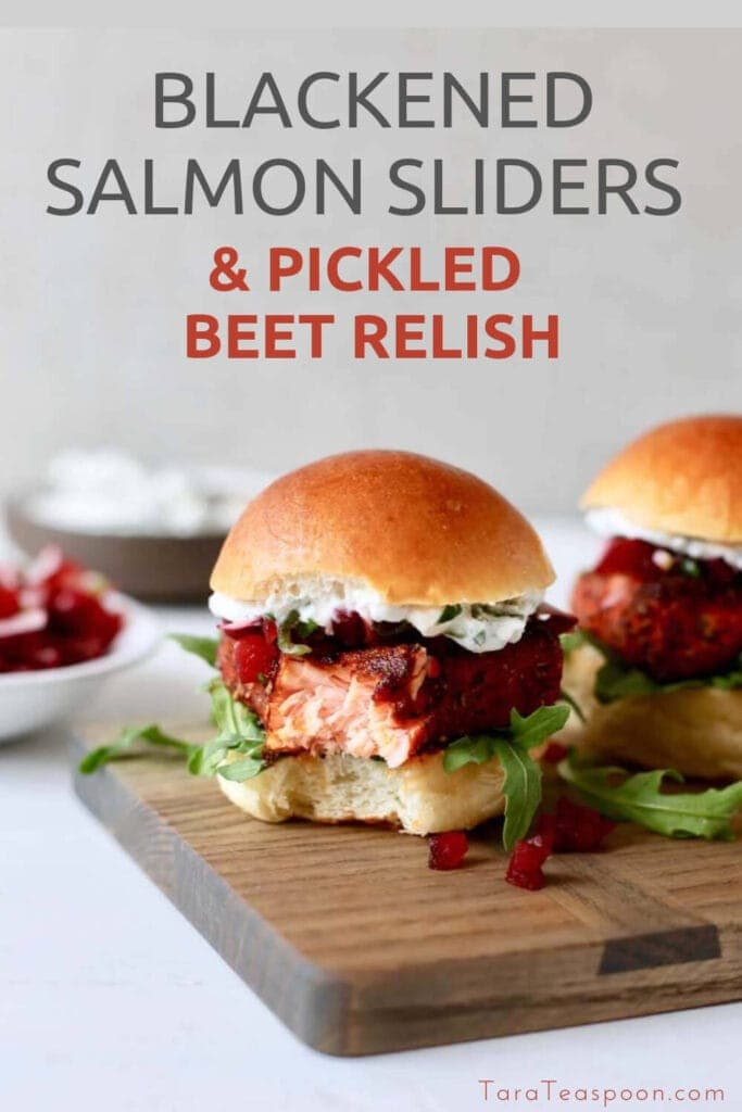 pin for blackened salmon sliders with a bite out