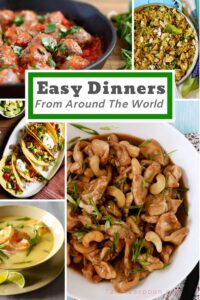 Easy Dinners from around the world collage pin