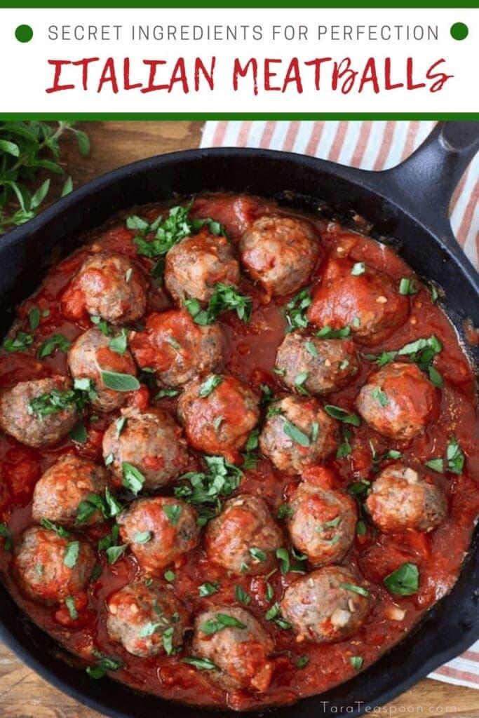 Secret Ingredient Italian Meatballs in a skillet