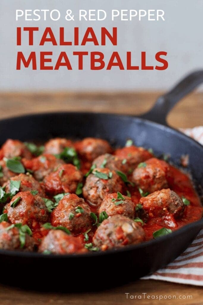 Pesto and Red Pepper Italian Meatballs pin