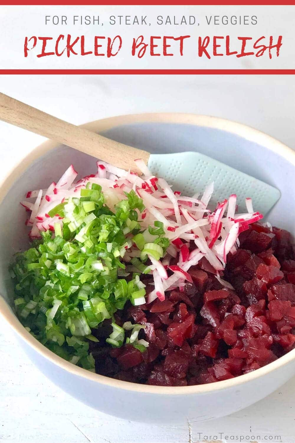 pickled beets with scallions and radish in bowl