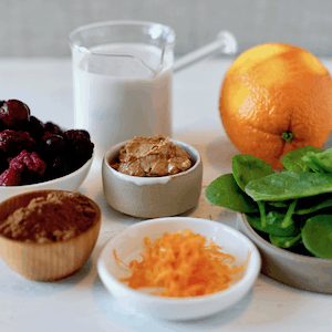 smoothie ingredients on a table
