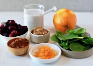 ingredients for protein powder smoothies in bowls