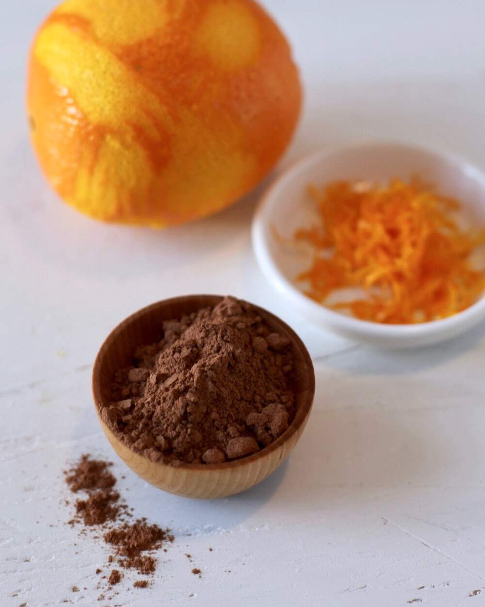 orange zest and cocoa powder for smoothies