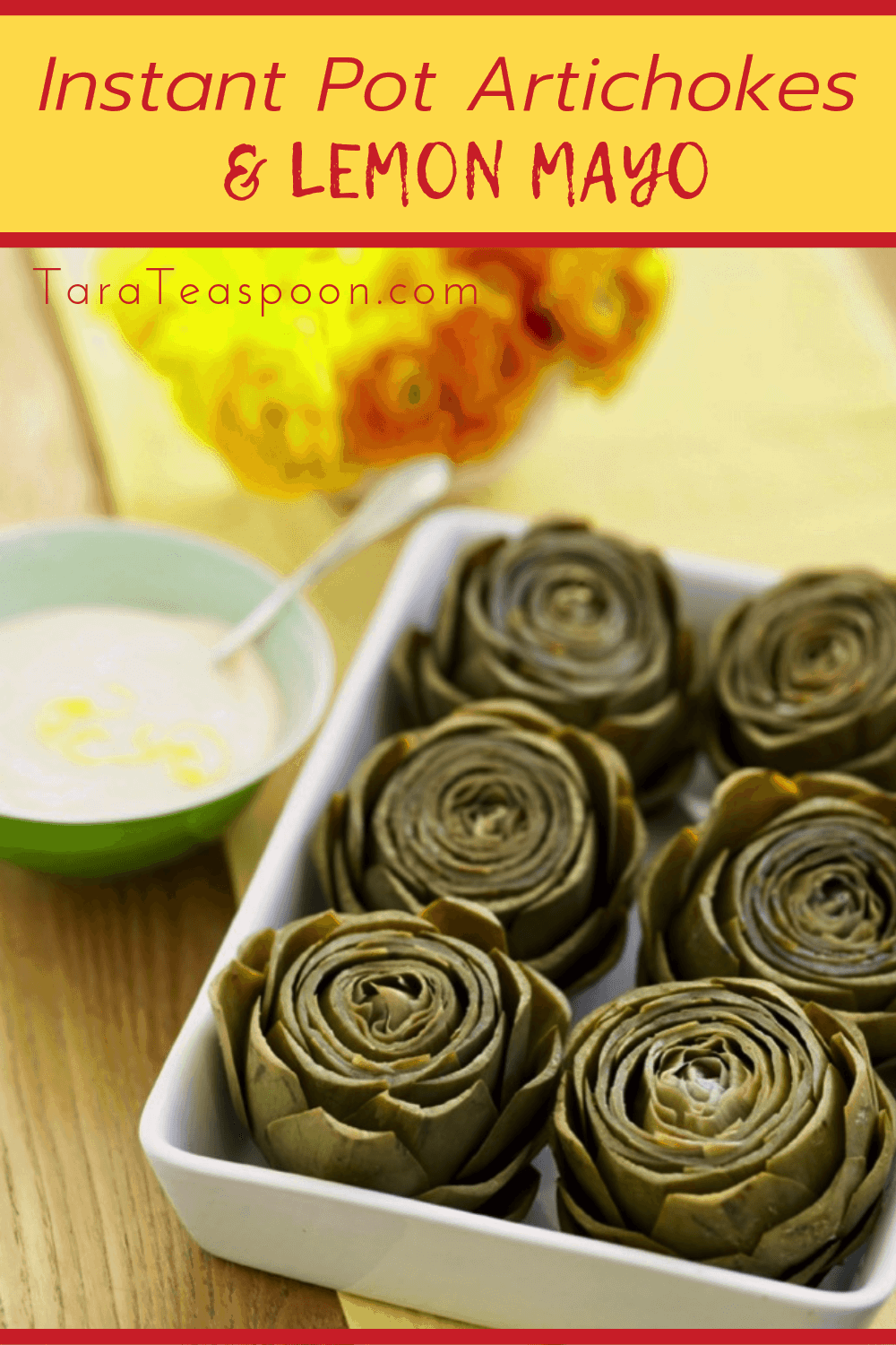 artichokes and lemon dip with flowers pin