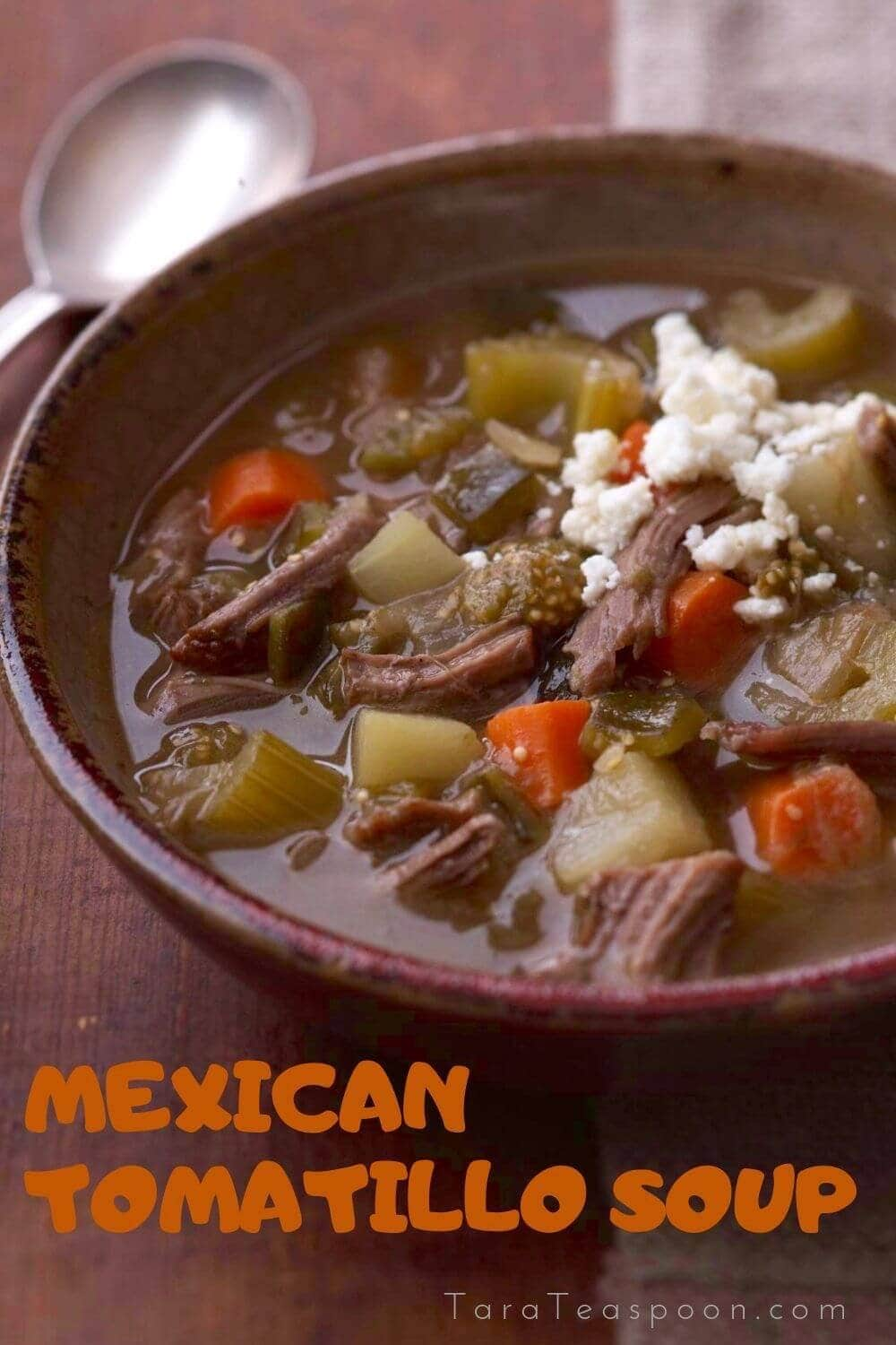 Mexican soup with tomatillo and shredded beef pin