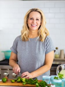 Tara Bench, food blogger on Tara Teaspoon, headshot in kitchen