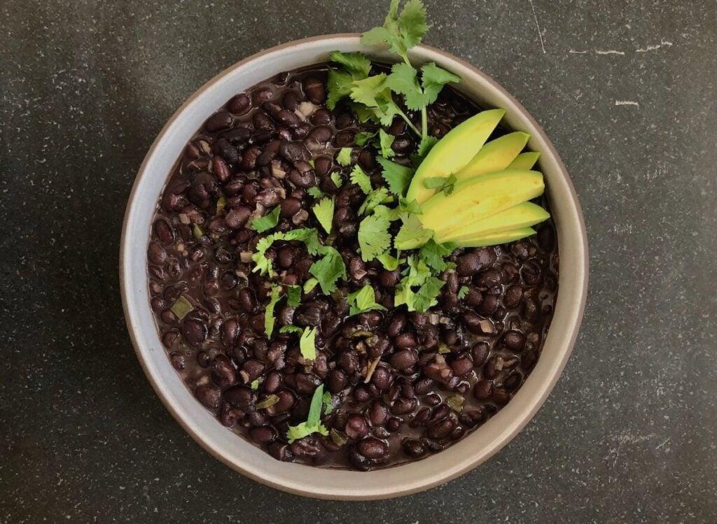 black beans with cilantro and avocado
