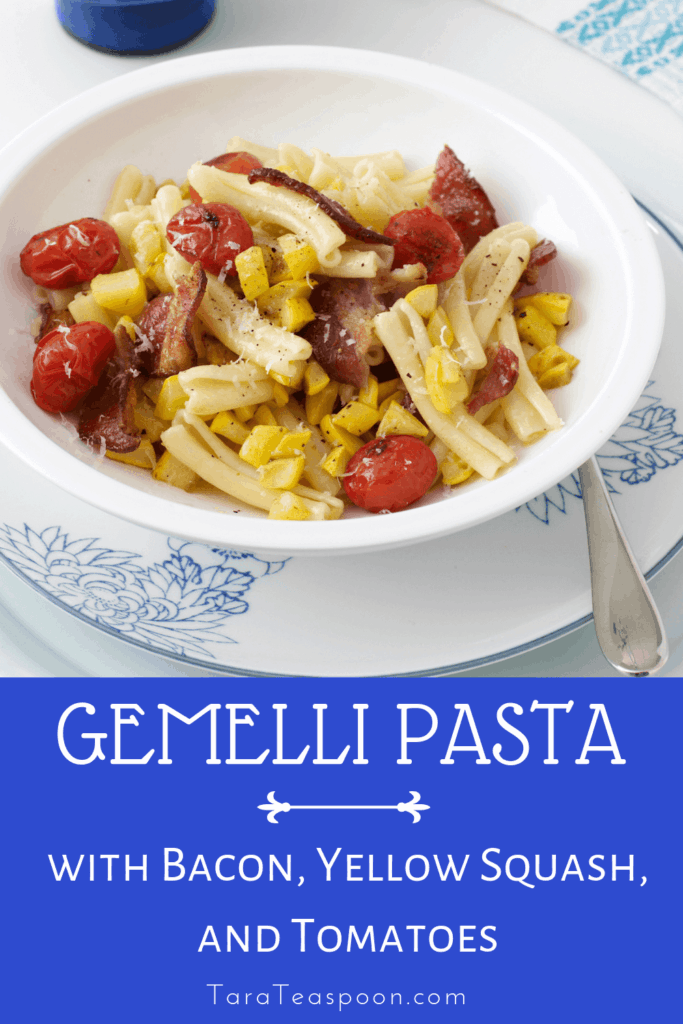 gemelli pasta with bacon yellow squash and tomatoes pin