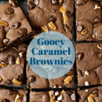 gooey caramel brownies square pin