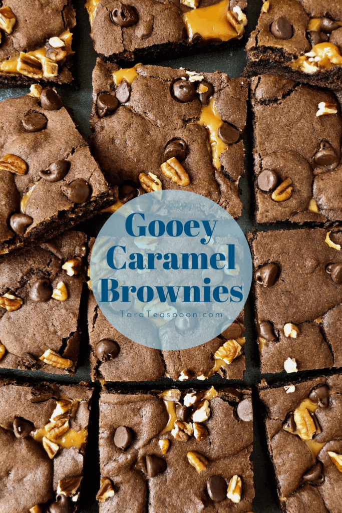gooey caramel brownies square pin