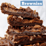 Gooey Caramel Brownies stack pin