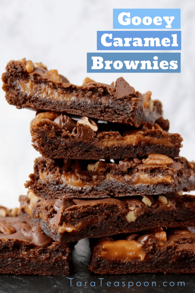 Gooey Caramel Brownies stack pin