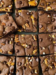 Gooey Caramel Brownies cut into squares