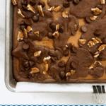 How to make gooey caramel brownies pin
