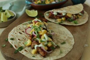 blackened salmon tacos with cilantro and corn salsa