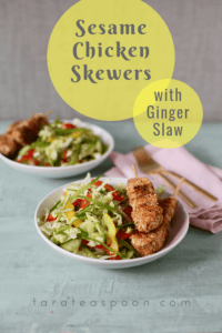 sesame chicken skewers with ginger slaw pin
