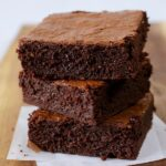 Stack of three delicious classic brownies