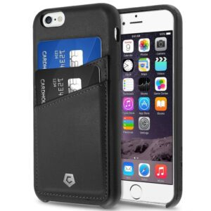iphone in black leather case with credit cards