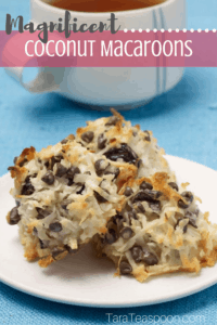 coconut macaroons pin with cup of tea