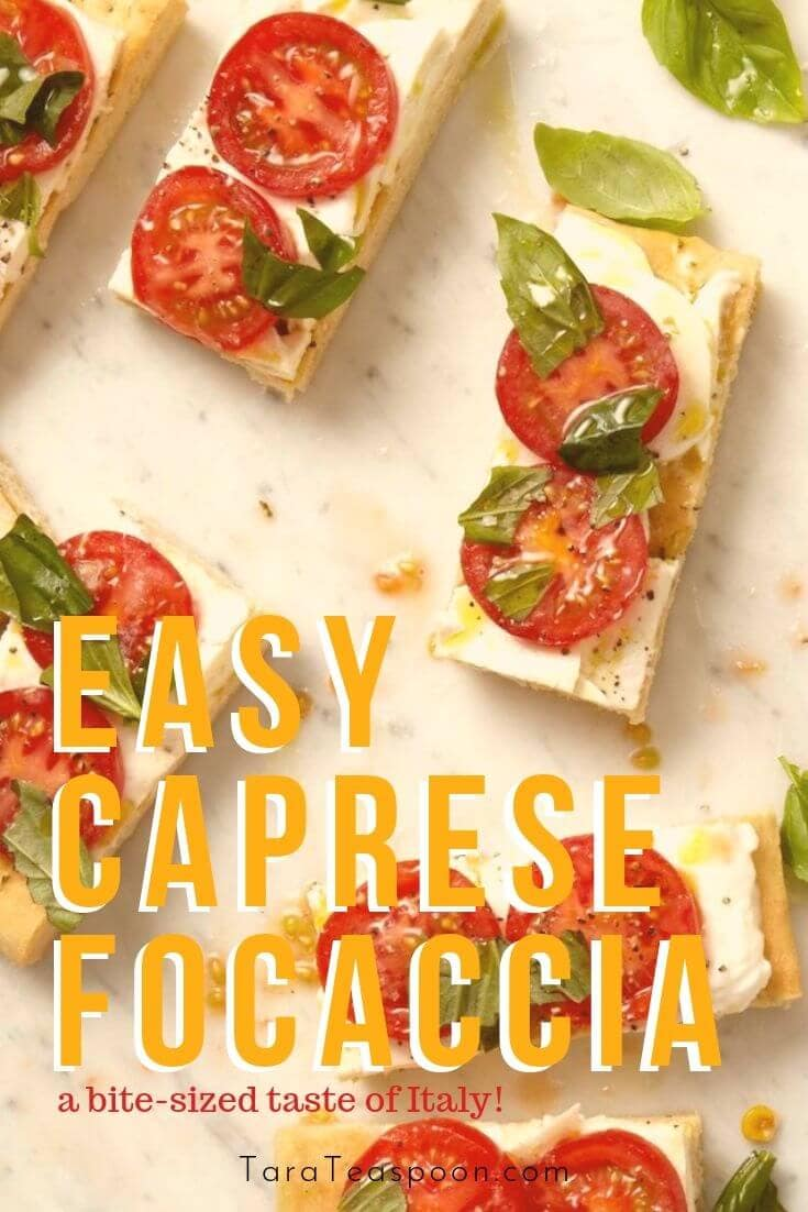 Bites of focaccia with mozzarella, tomatoes, and basil, drizzled with olive oil.