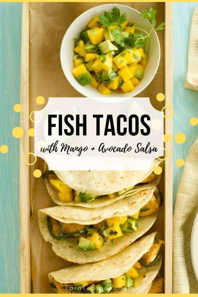 fish tacos with mango and avocado salsa pin
