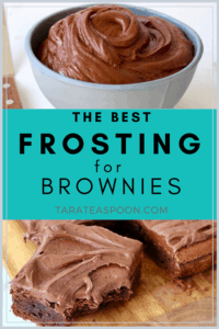 white bowl of frosting for brownies and a brownie with frosting