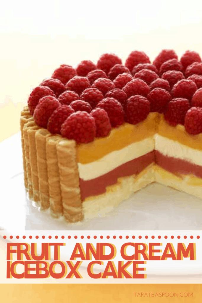 fruit and cream icebox cake pin