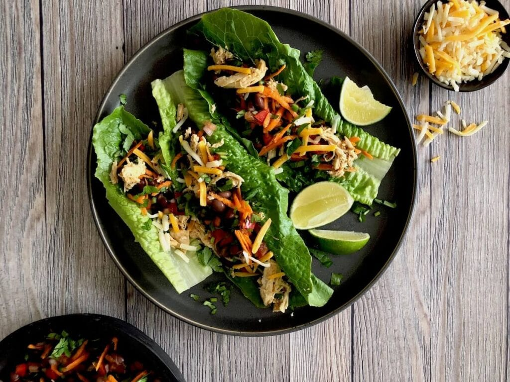 Chicken Taco Salad Lettuce Wraps on plate