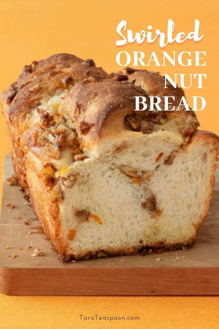 swirled orange nut bread made with frozen dough pin