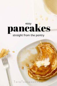 easy pantry pancakes pin image