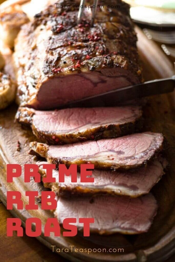 Prime rib roast sliced