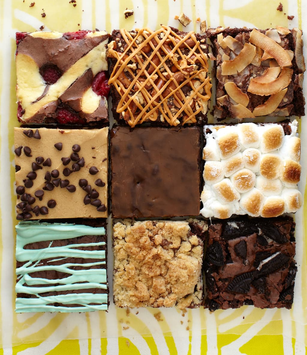Variety of Brownie flavors on a yellow paper