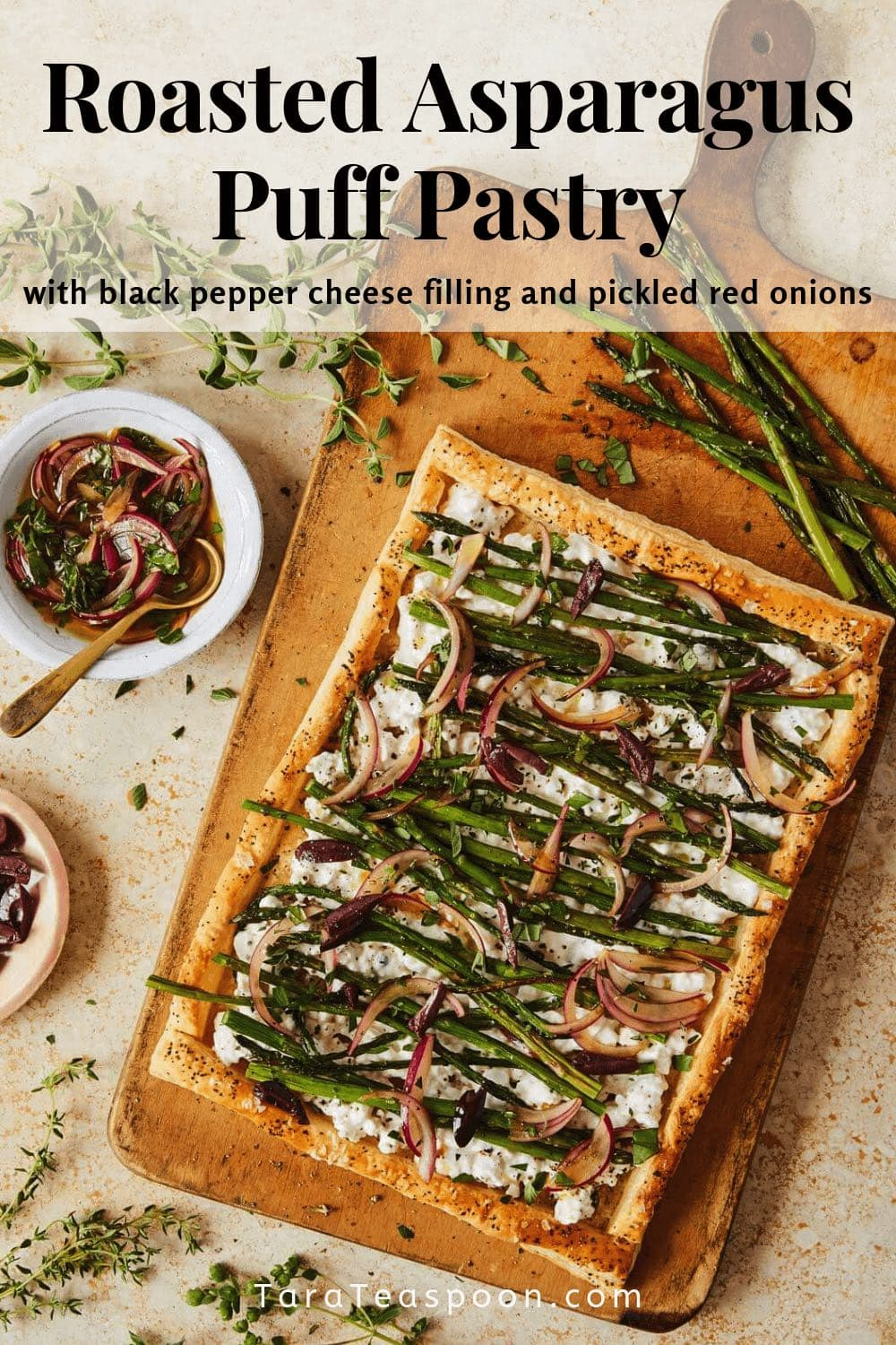 Puff pastry tart on a cutting board pin