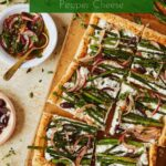 asparagus and black pepper cottage cheese tart on board