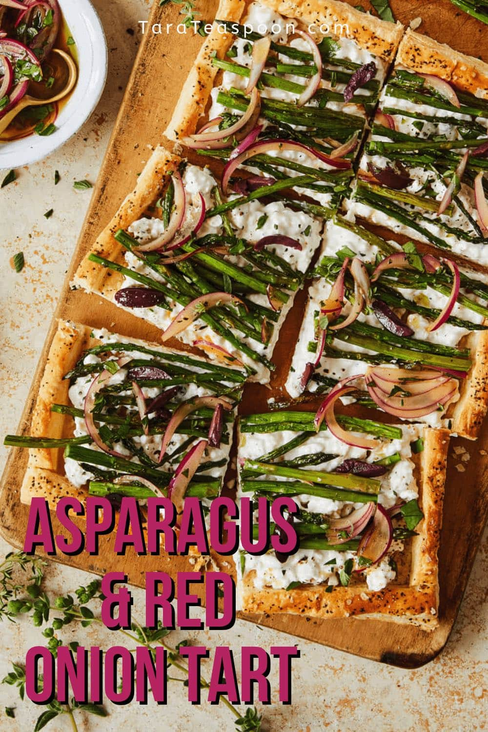 Asparagus and red onion tart pin