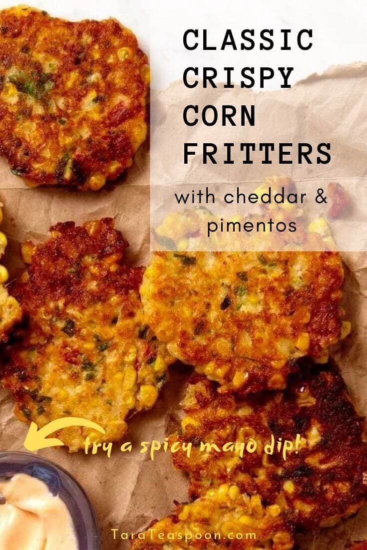 classic crispy corn fritters with cheddar and pimentos with a spicy mayo dipping sauce pin