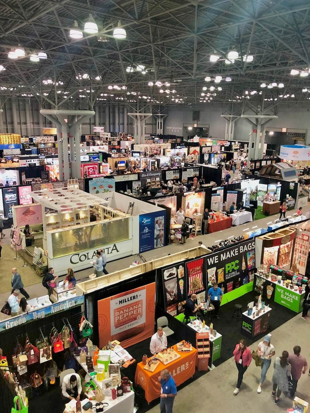 overhead of the booths at the fancy food show