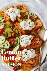lemon butter salmon with cottage cheese pin
