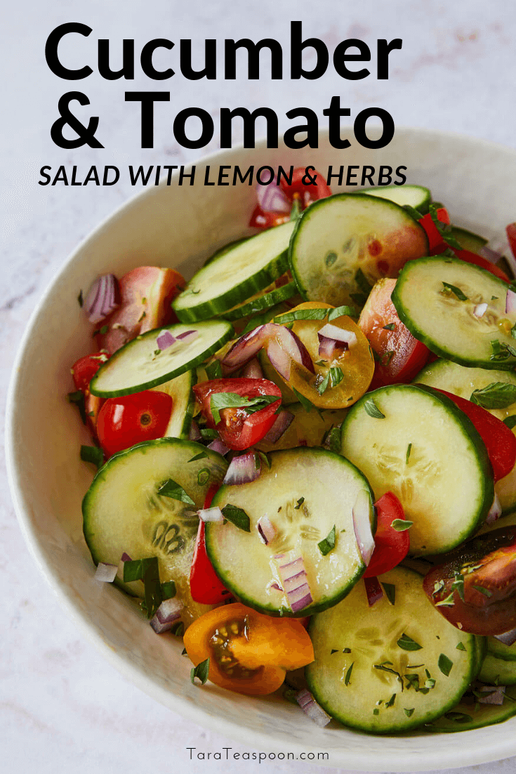 cucumber and tomato salad with lemon and herbs pin