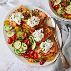 pan cooked salmon with cottage cheese and cucumber salad