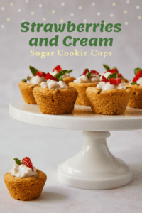 Strawberries and cream sugar cookie cups pin