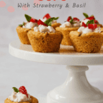 sugar cookie cups with strawberry and basil pin