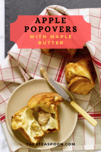 apple popovers with maple butter on a white plate with red and white checked napkin