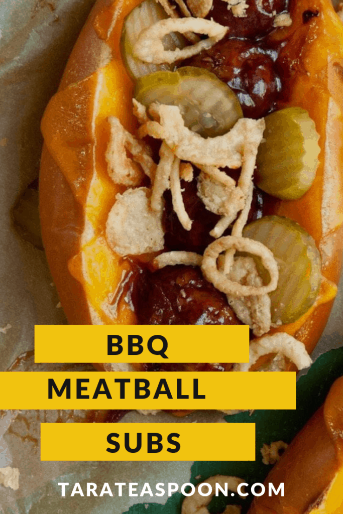 bbq meatball subs with pickles and crispy fried onions