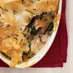 Chicken Mushroom Spinach Pie with a serving missing