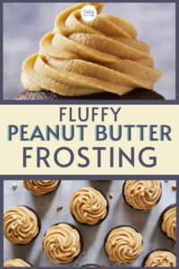 fluffy peanut butter frosting recipe pin image