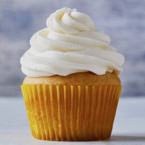 Vanilla cupcake with fluffy white frosting