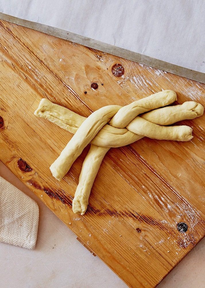 simple braided cardamom dough on a cutting board