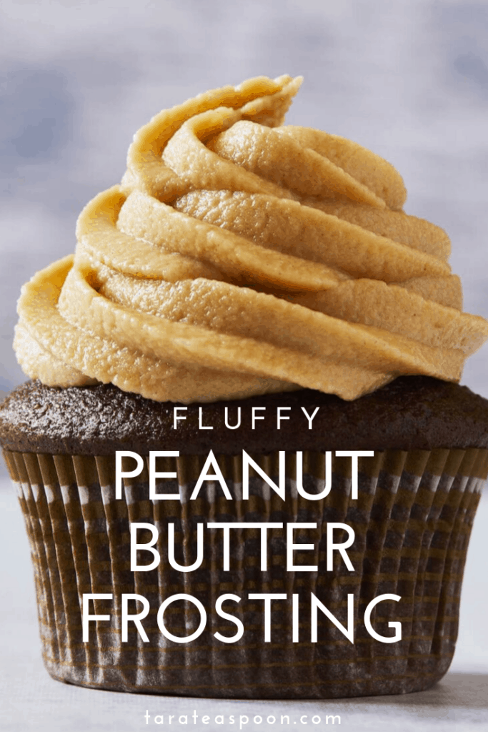 fluffy peanut butter frosting on chocolate cupcake